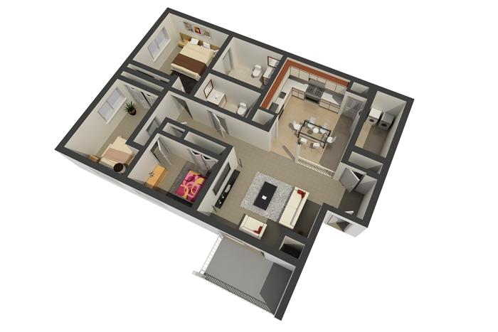 3 Bedroom / 2 Bathroom Deluxe Apartment