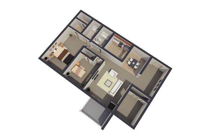 Three Bedroom / 2 Bathroom Standard Apartment